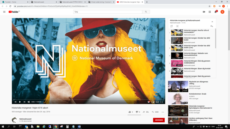 Nationalmuseets YouTube-kanal - god inspiration til hjemmeundervisning