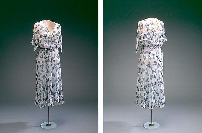 Kjole i silkechiffon fra 1930'erne